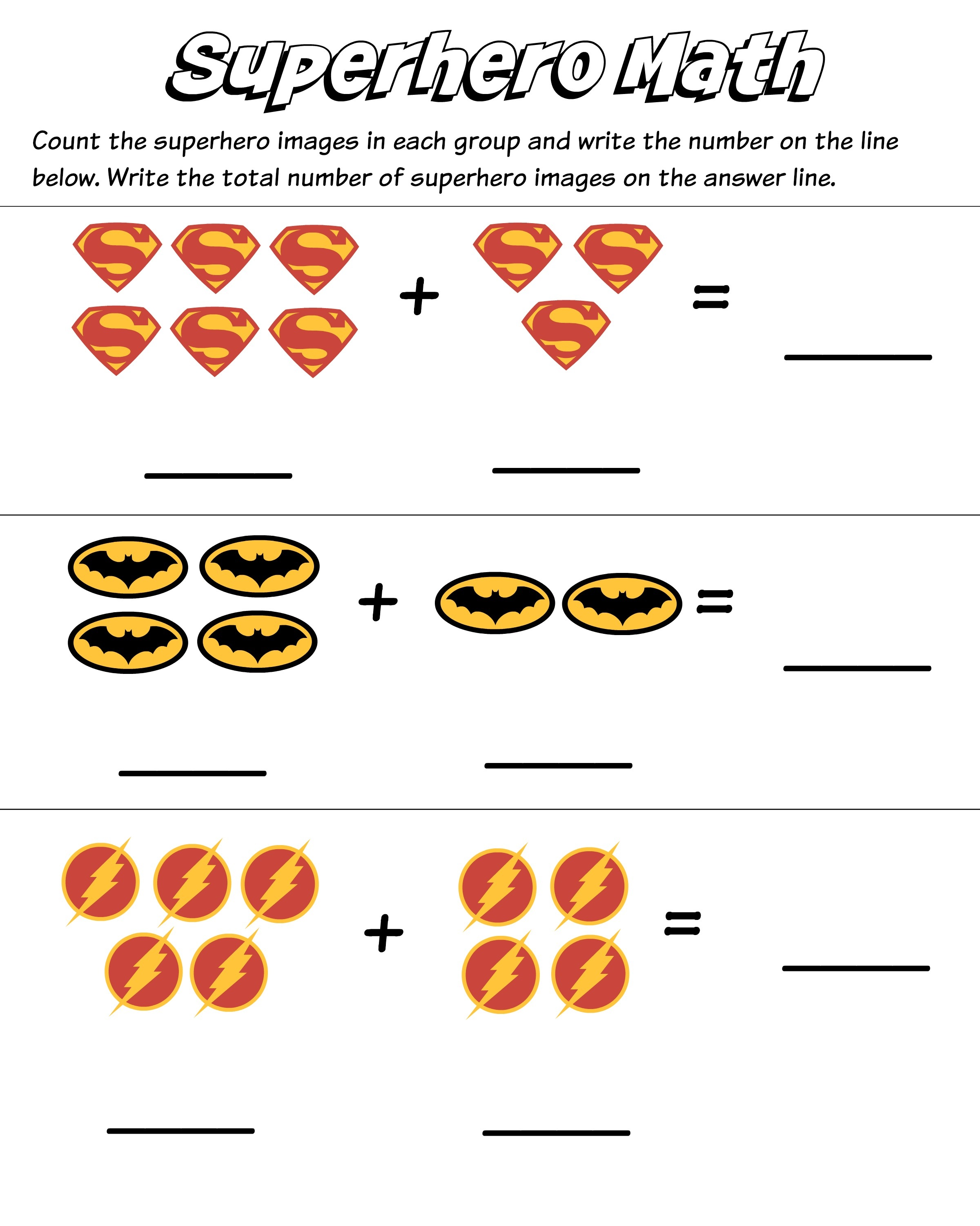 Addition Worksheets With Pictures Superhero