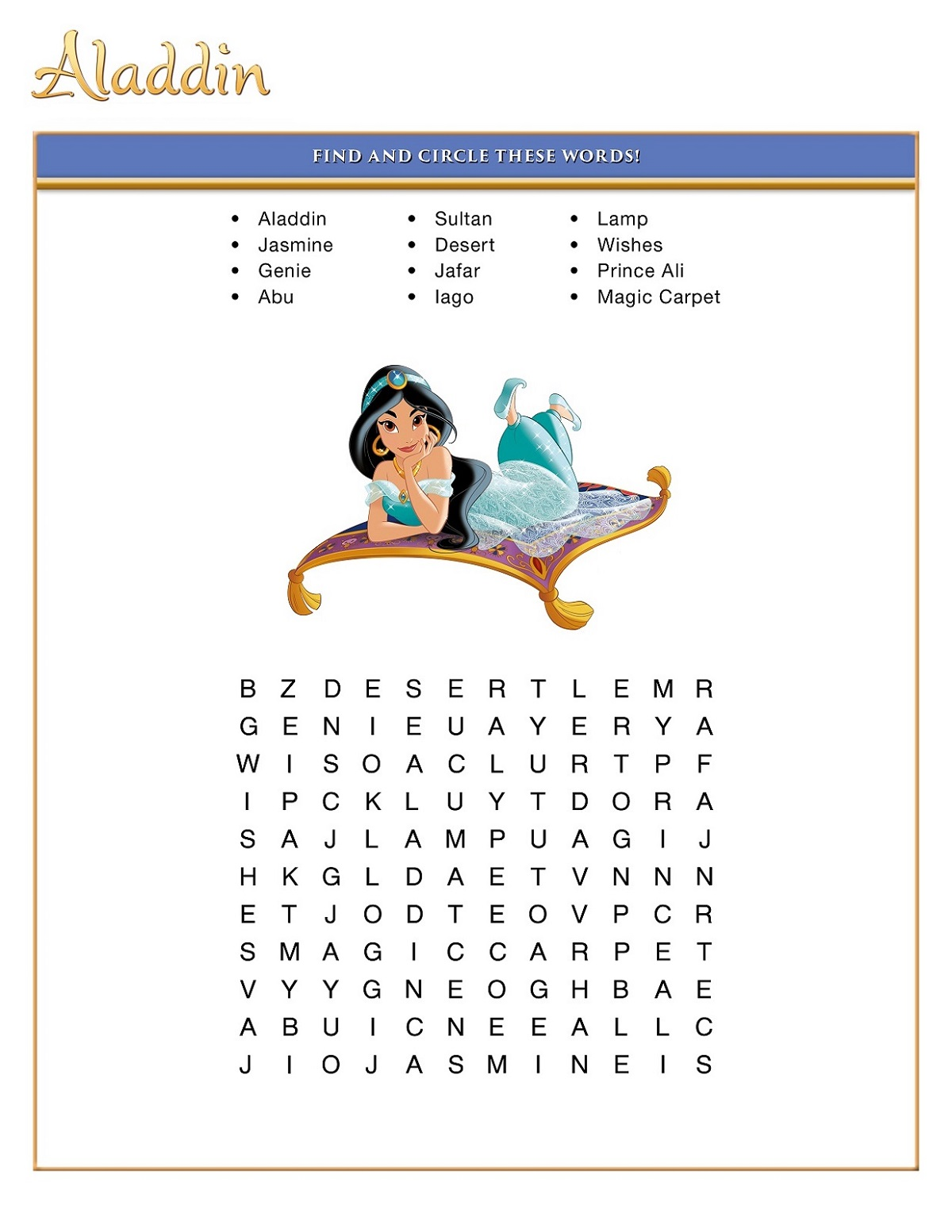 Aladdin Disney Word Searches