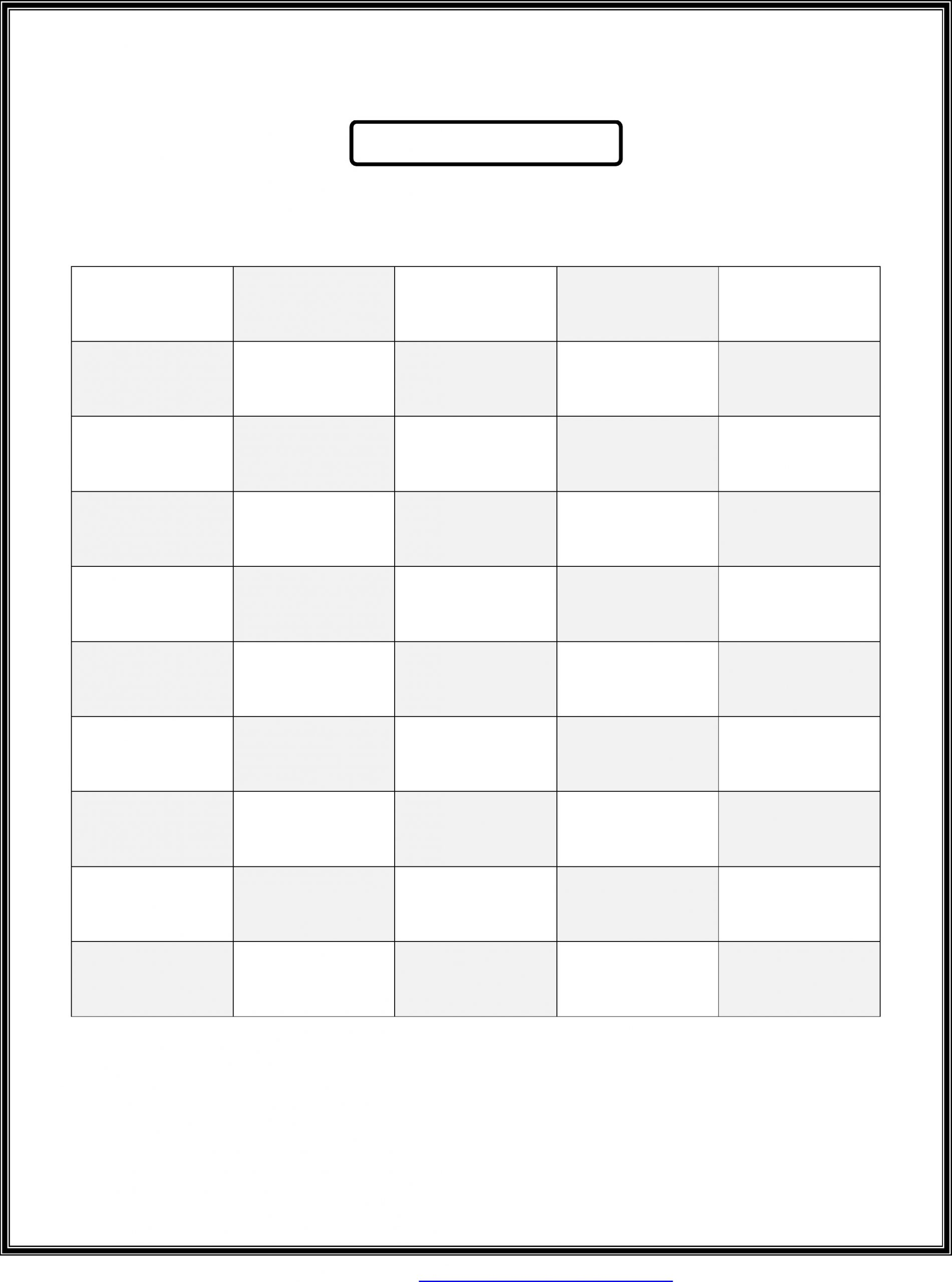 Blank Number Chart 1-50