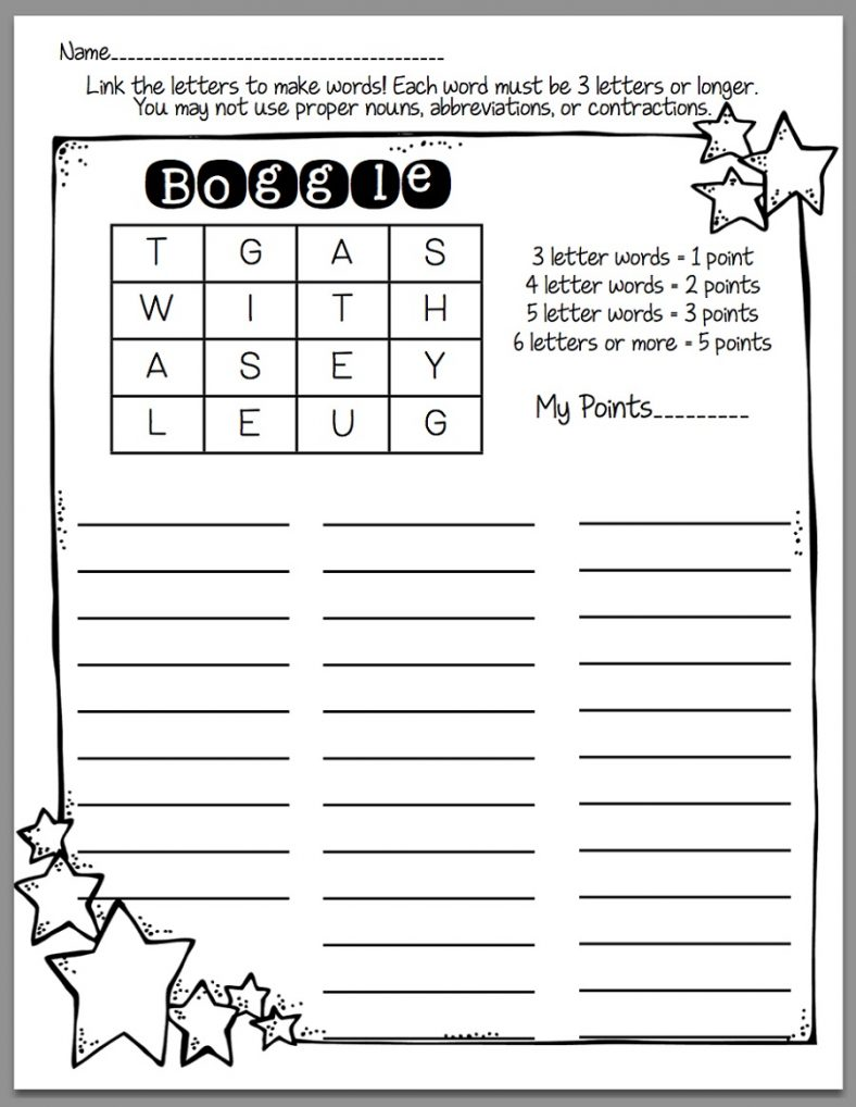 Boggle for Kids Worksheet