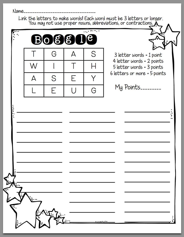 Boggle for Kids Worksheet