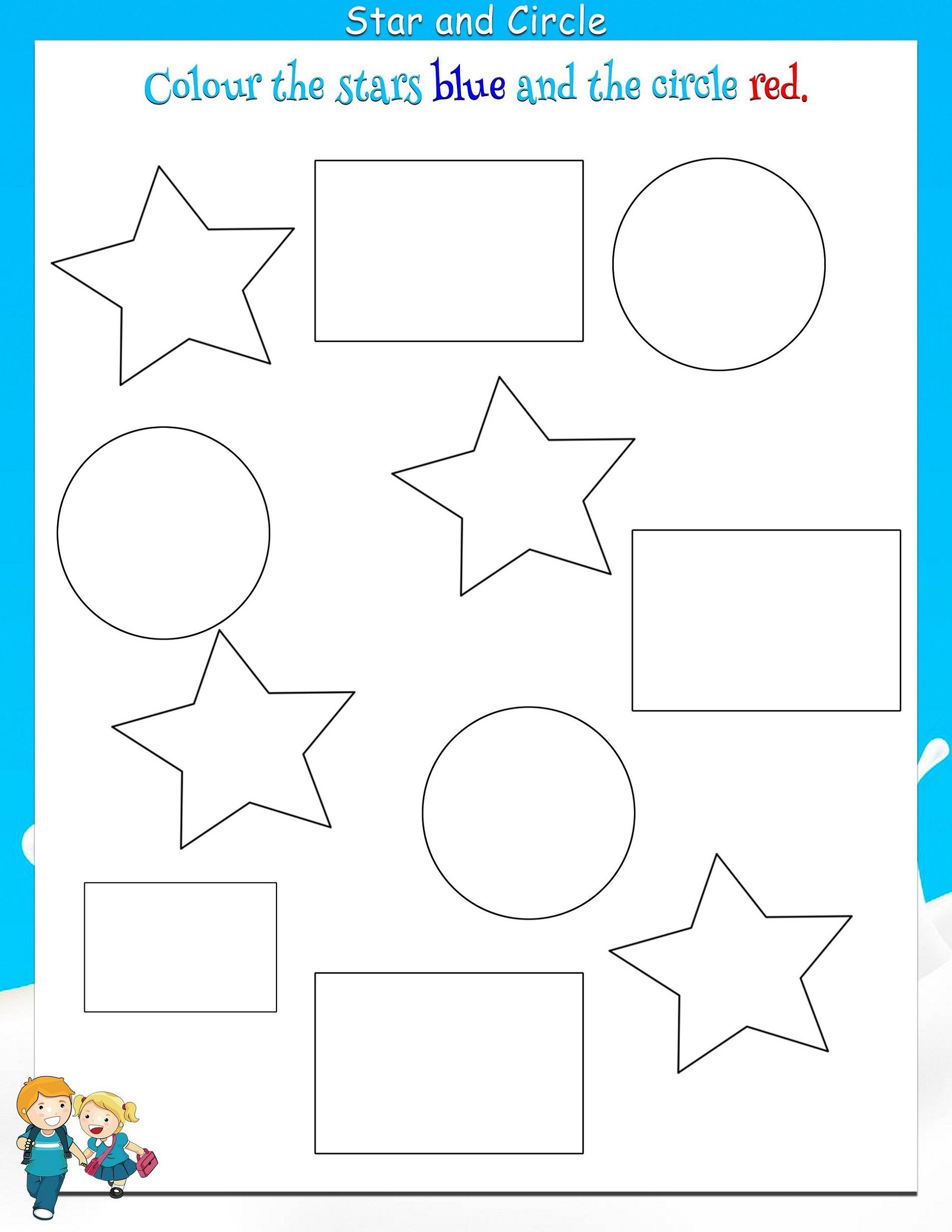 Color By Shape Worksheet For Kids