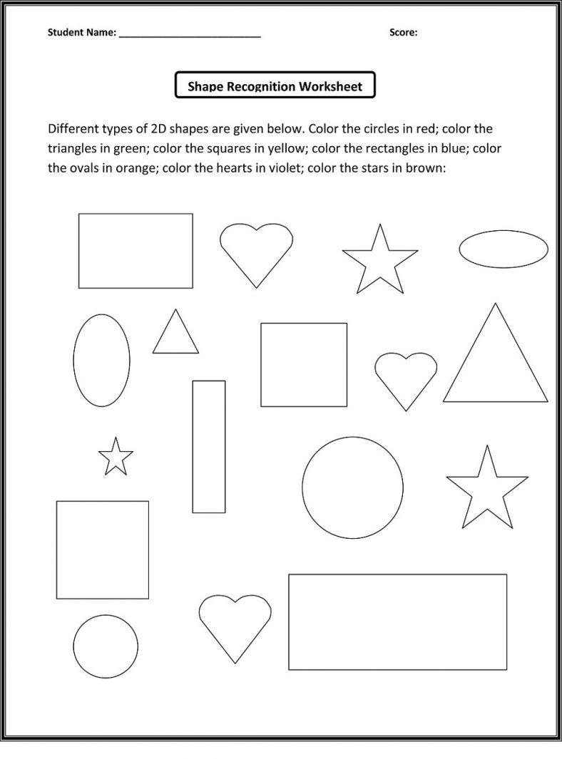 Coloring Basic Shapes Worksheets