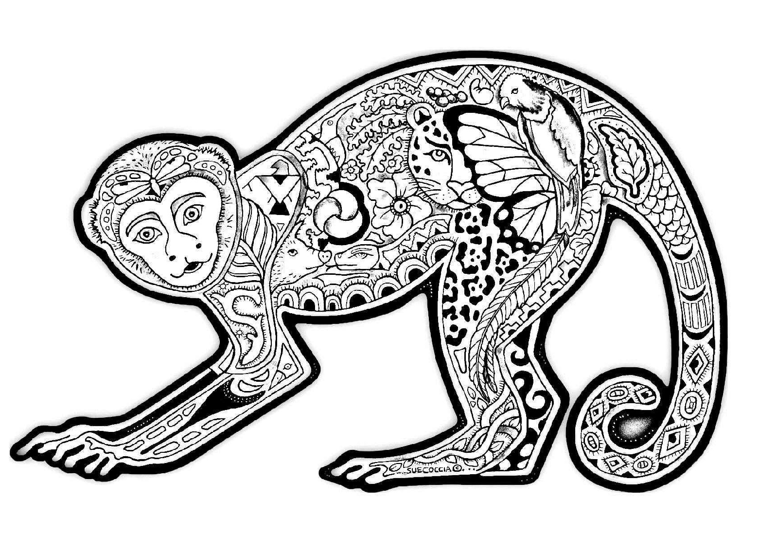 Coloring Pages of Monkeys for Adult