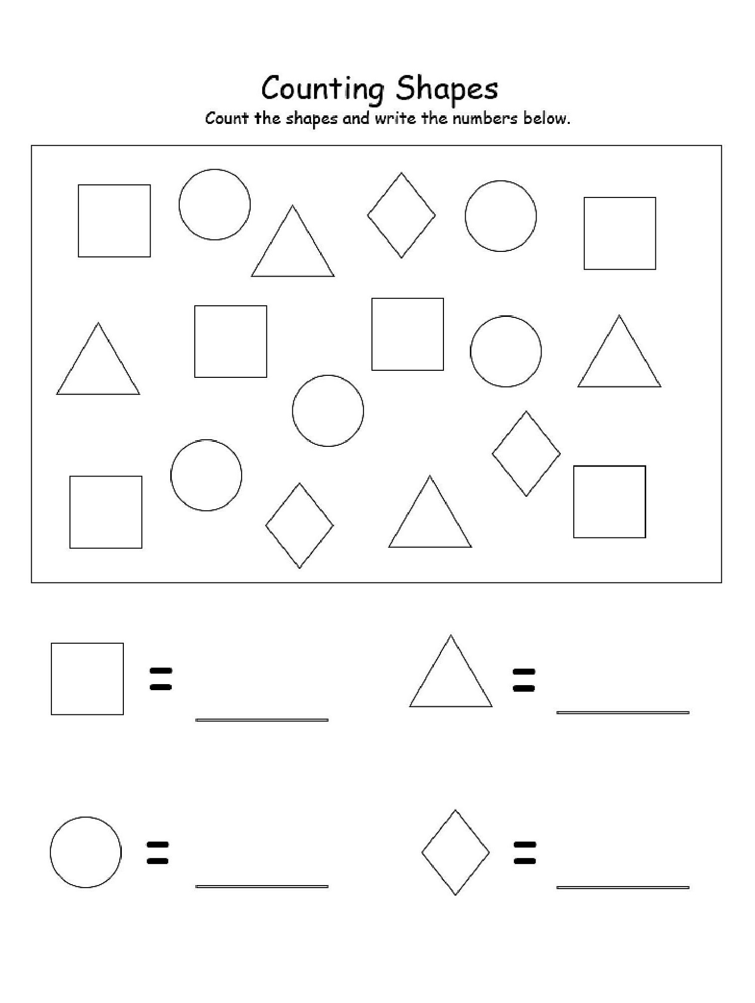 Counting Basic Shapes Worksheets