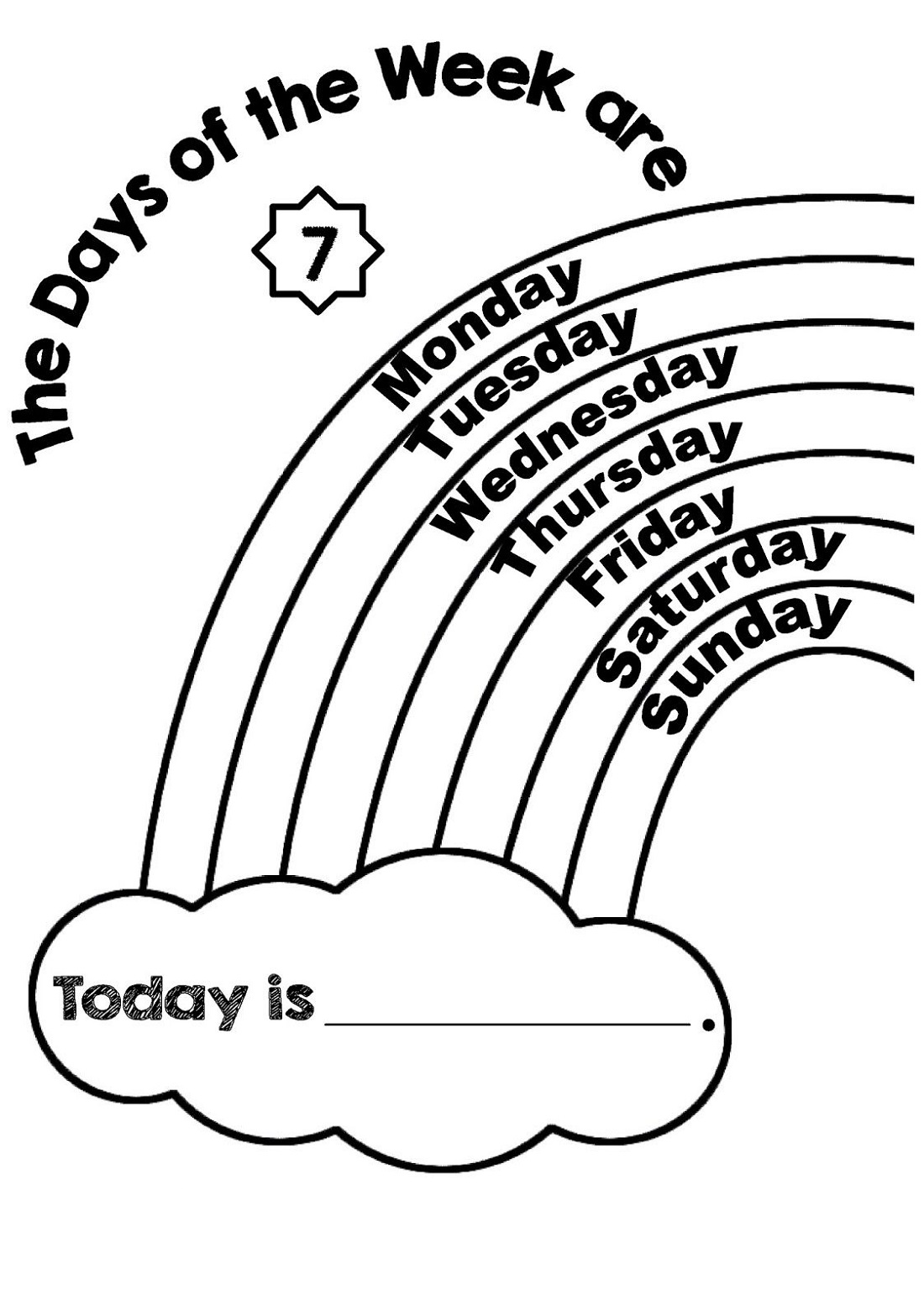 Days Of The Week Worksheet Rainbow