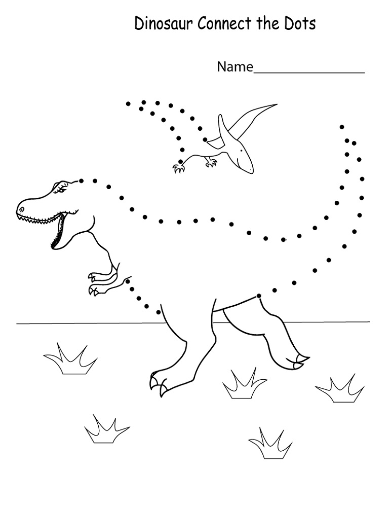 Dinosaur Dot To Dot Worksheet