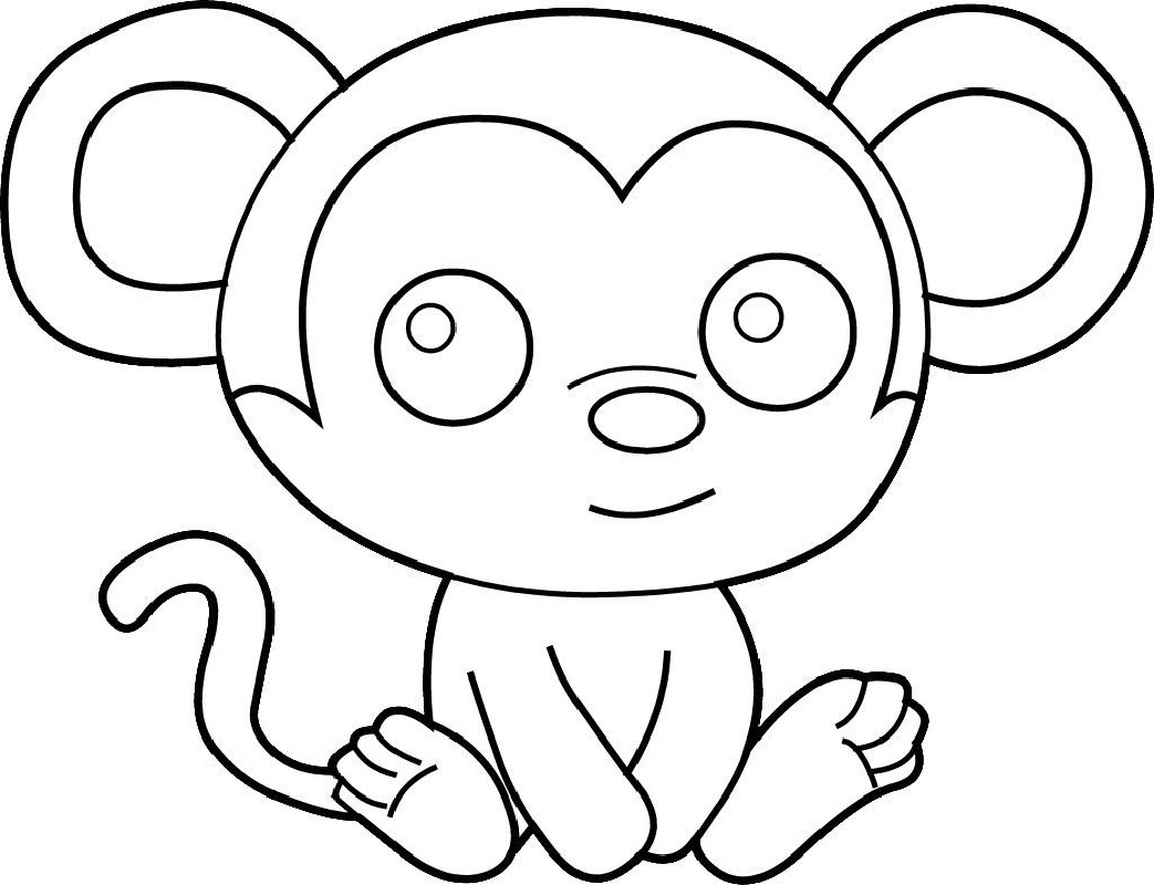 Easy Coloring Pages of Monkeys