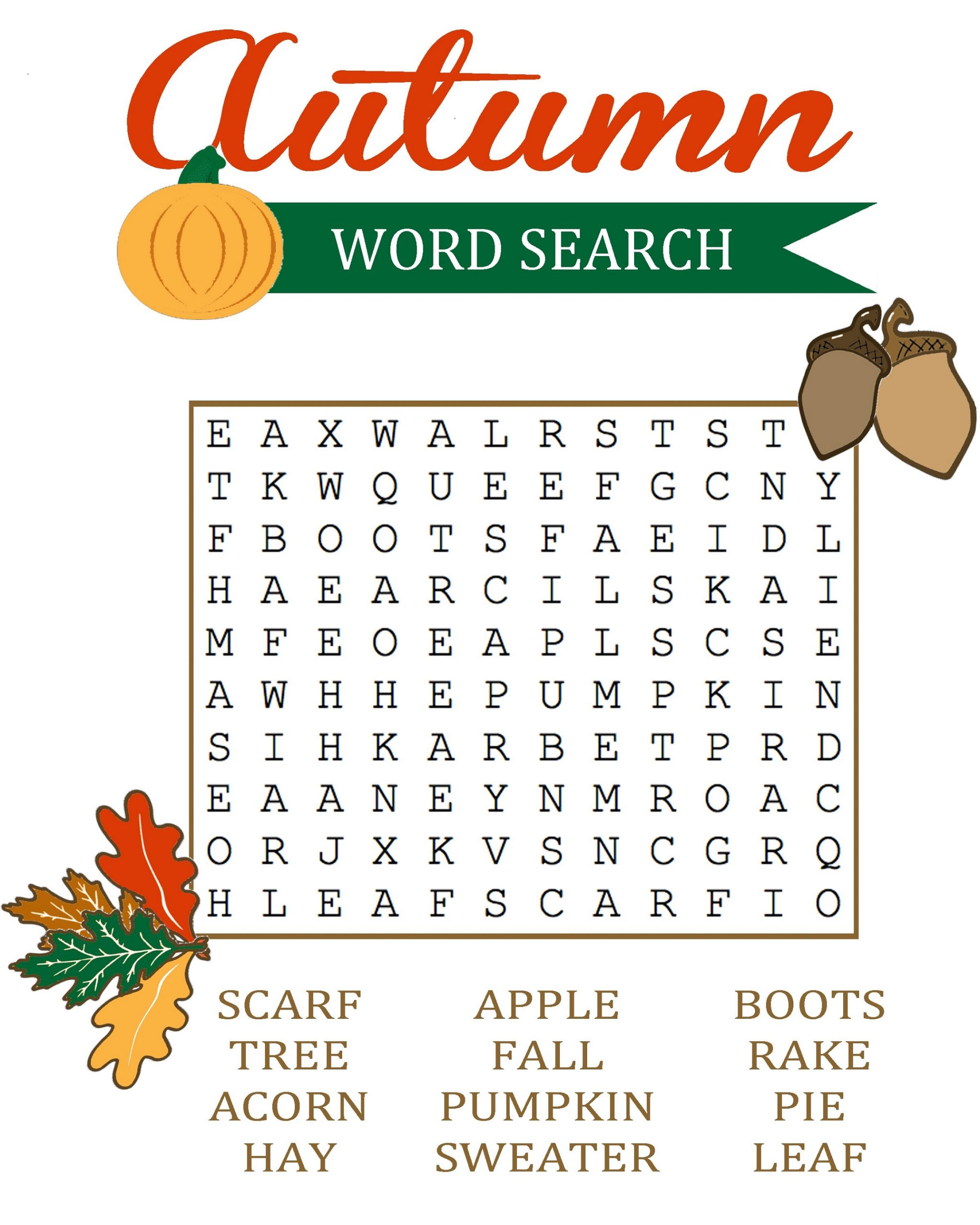 Fall Word Search Easy