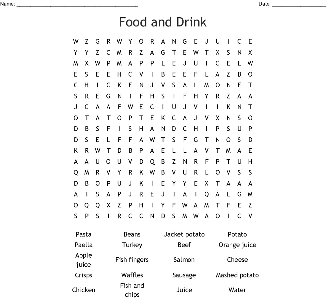 Food Word Searches And Drink
