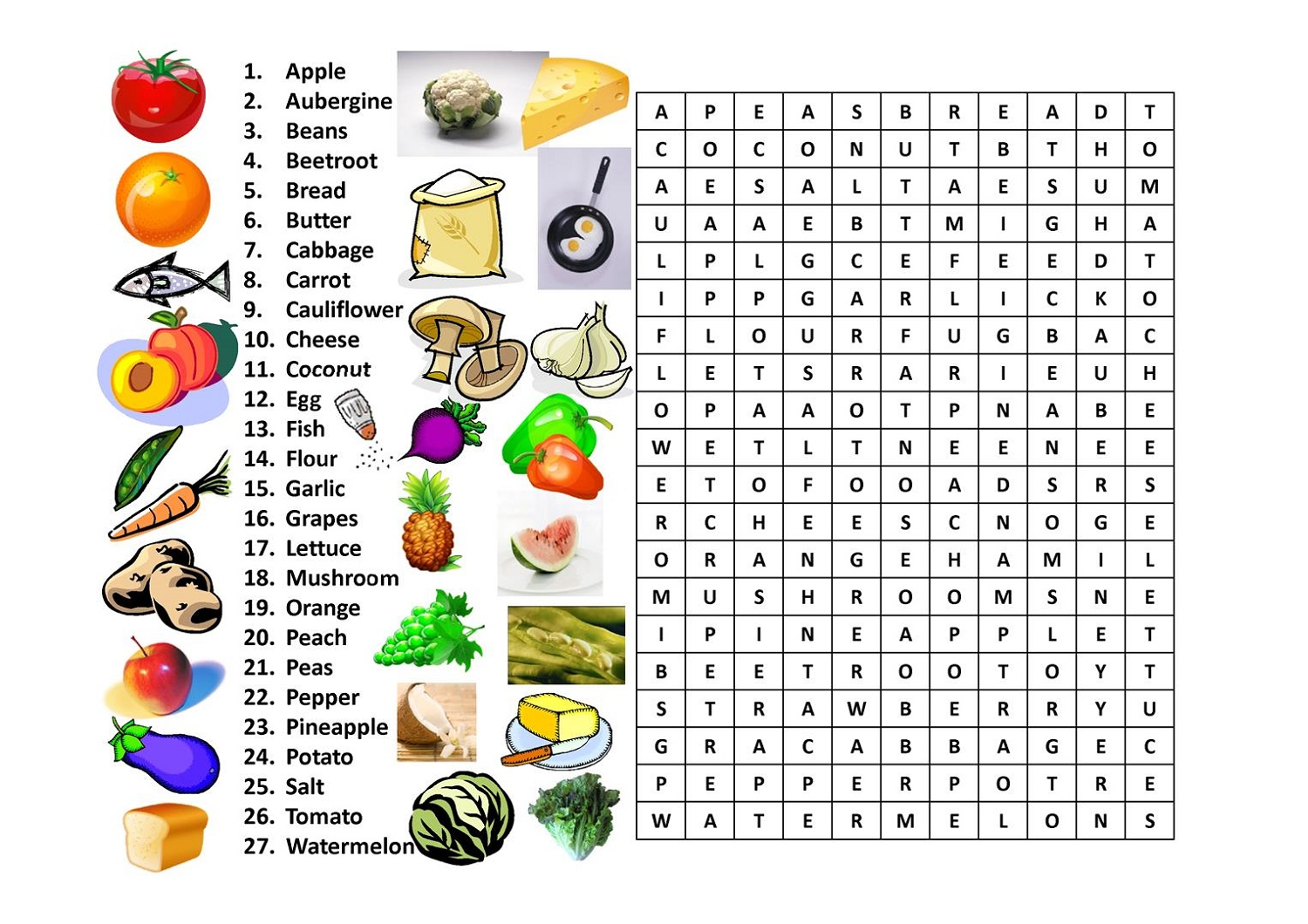 Food Word Searches With Pictures
