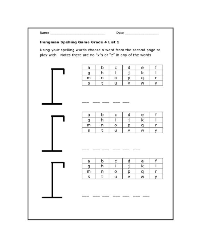 Hangman Word Game Worksheet