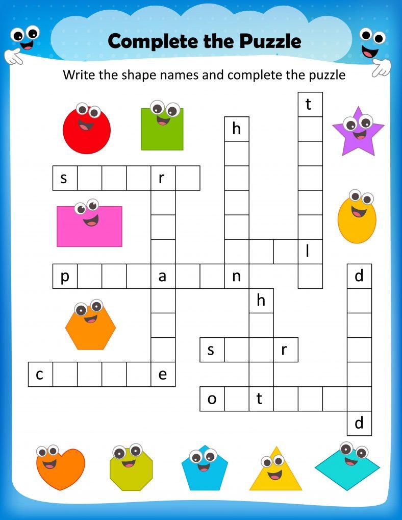 Shape Crosswords for Kids