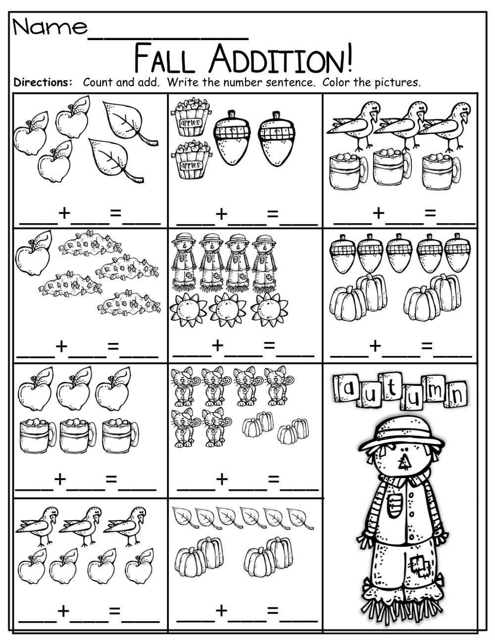 Simple Addition Worksheets With Pictures