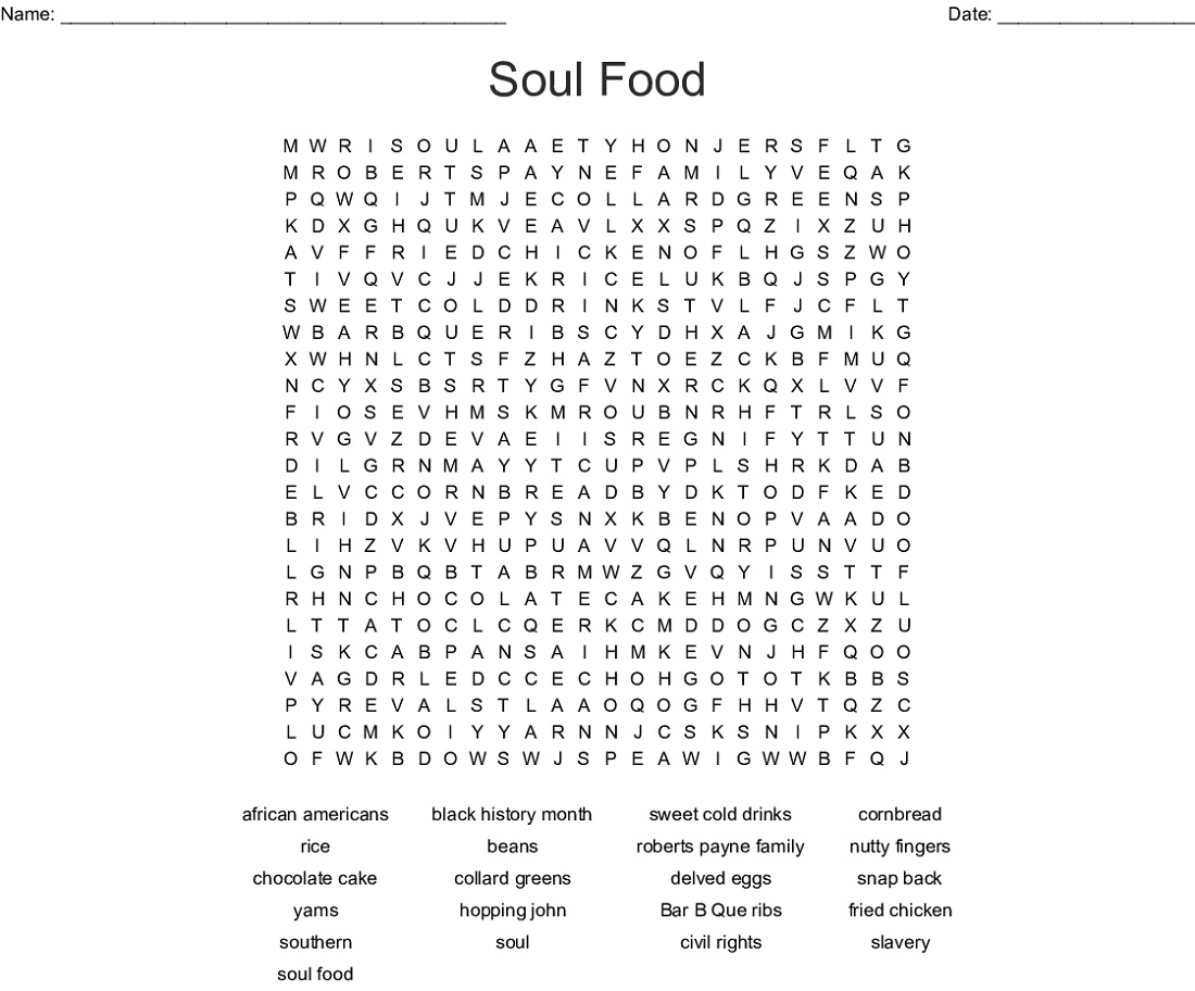 Soul Food Word Searches