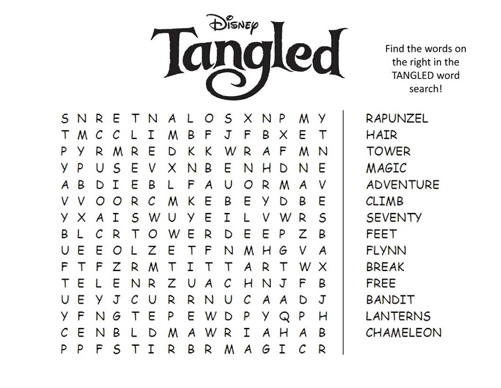 Tangled Disney Word Searches
