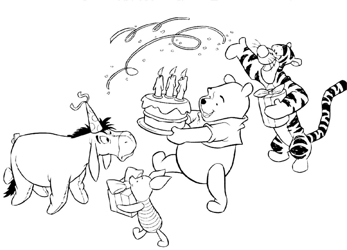 Winnie The Pooh Birthday Color Pages