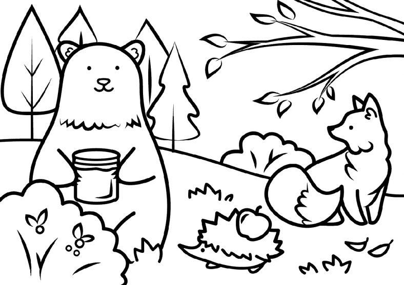 Animal Fall Coloring Sheets