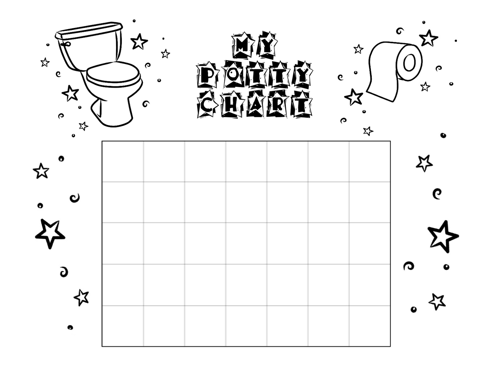 Black and White Potty Chart