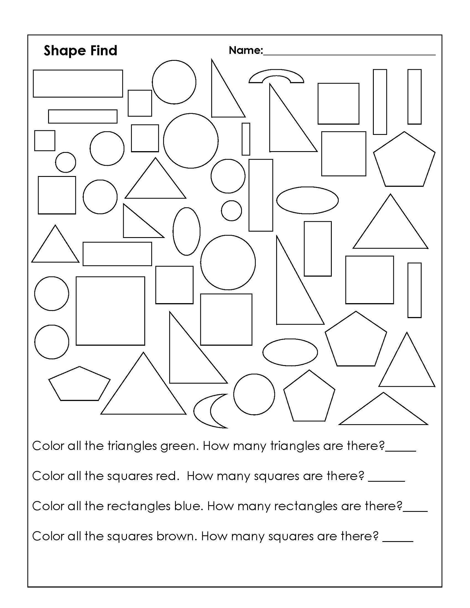 Color The Shapes Worksheet for student