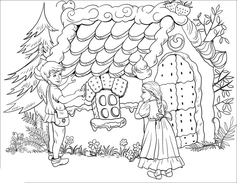 Coloring Hansel and Gretel Activities
