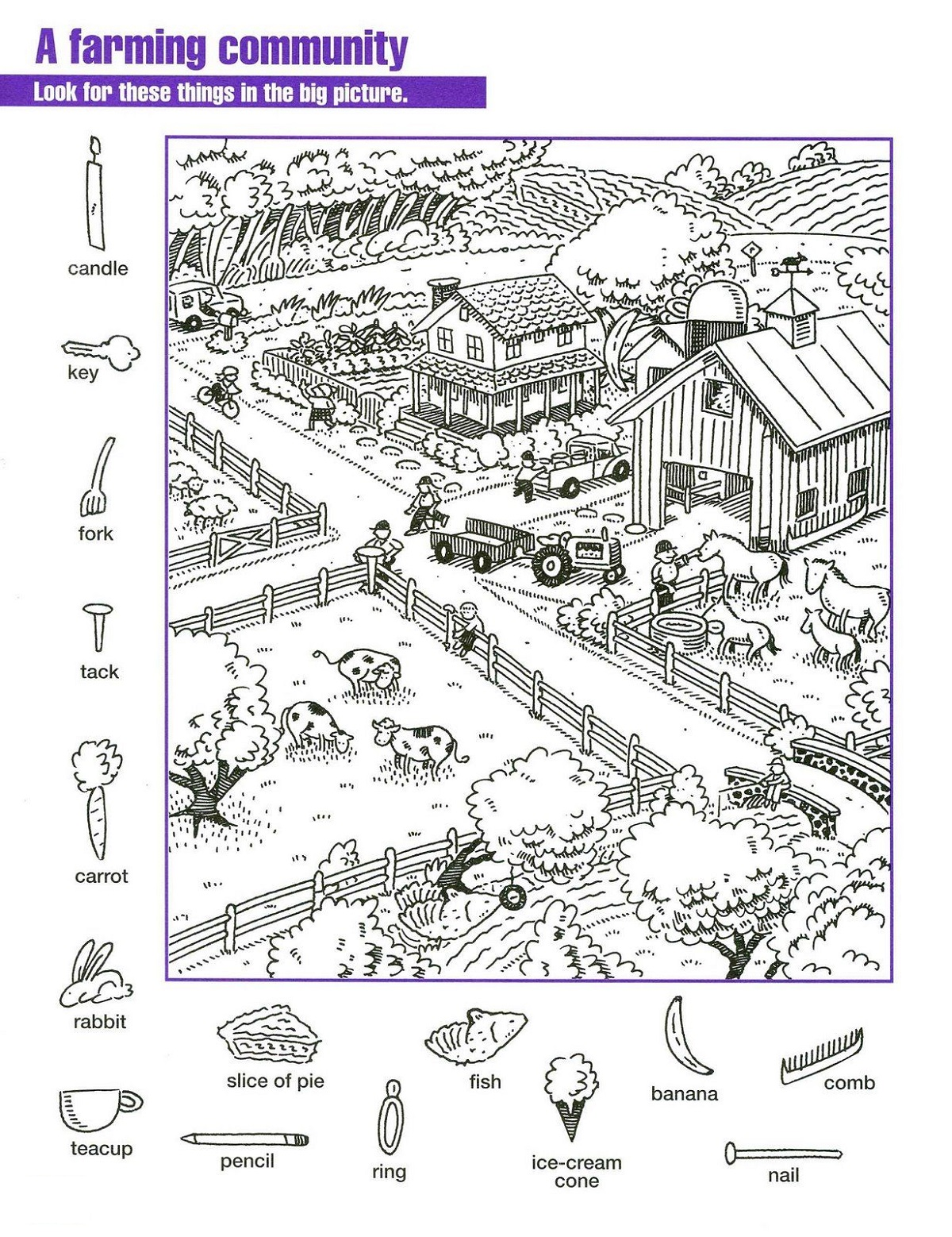 Farm Hidden Pictures Worksheets