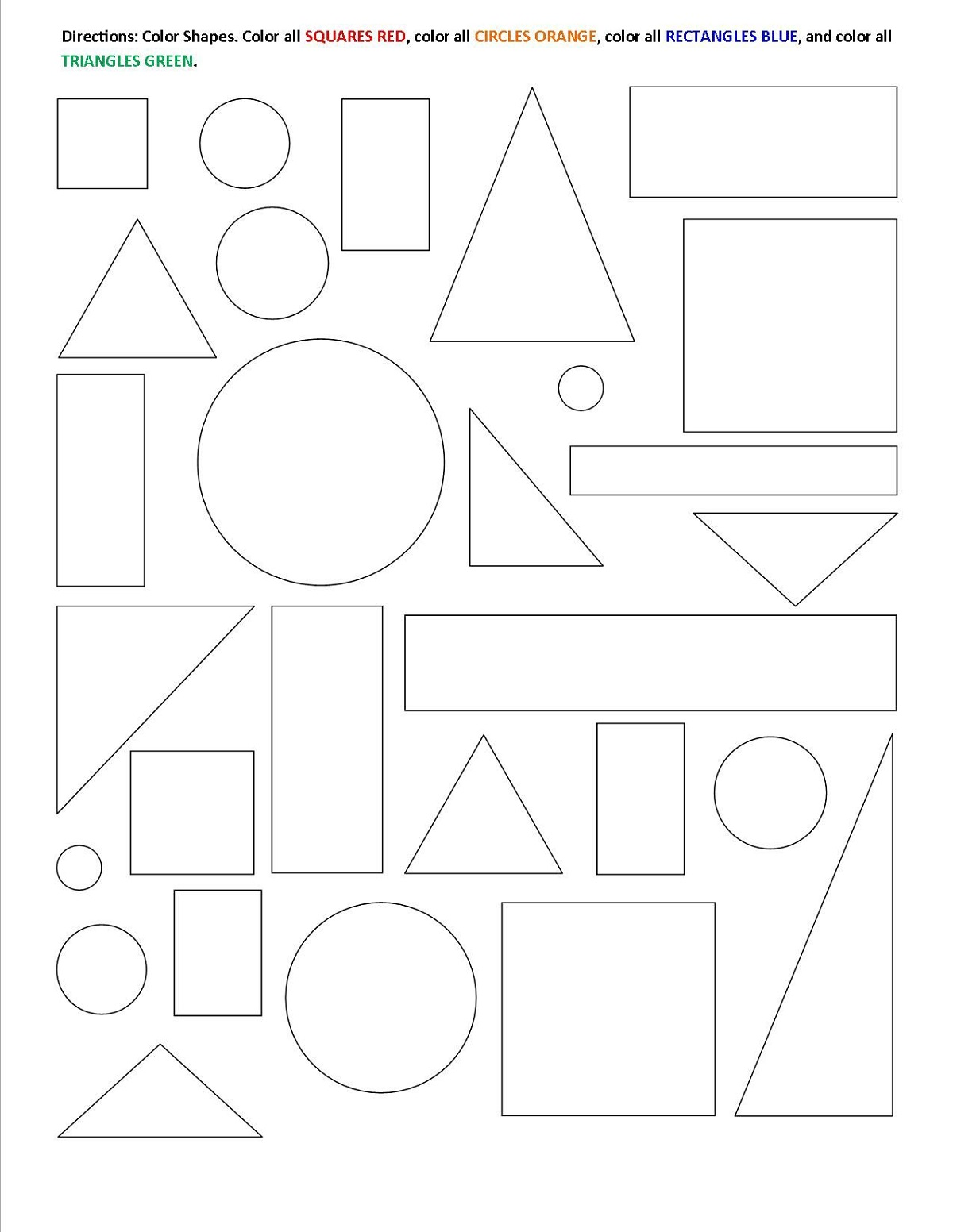 Fun Color The Shapes Worksheet