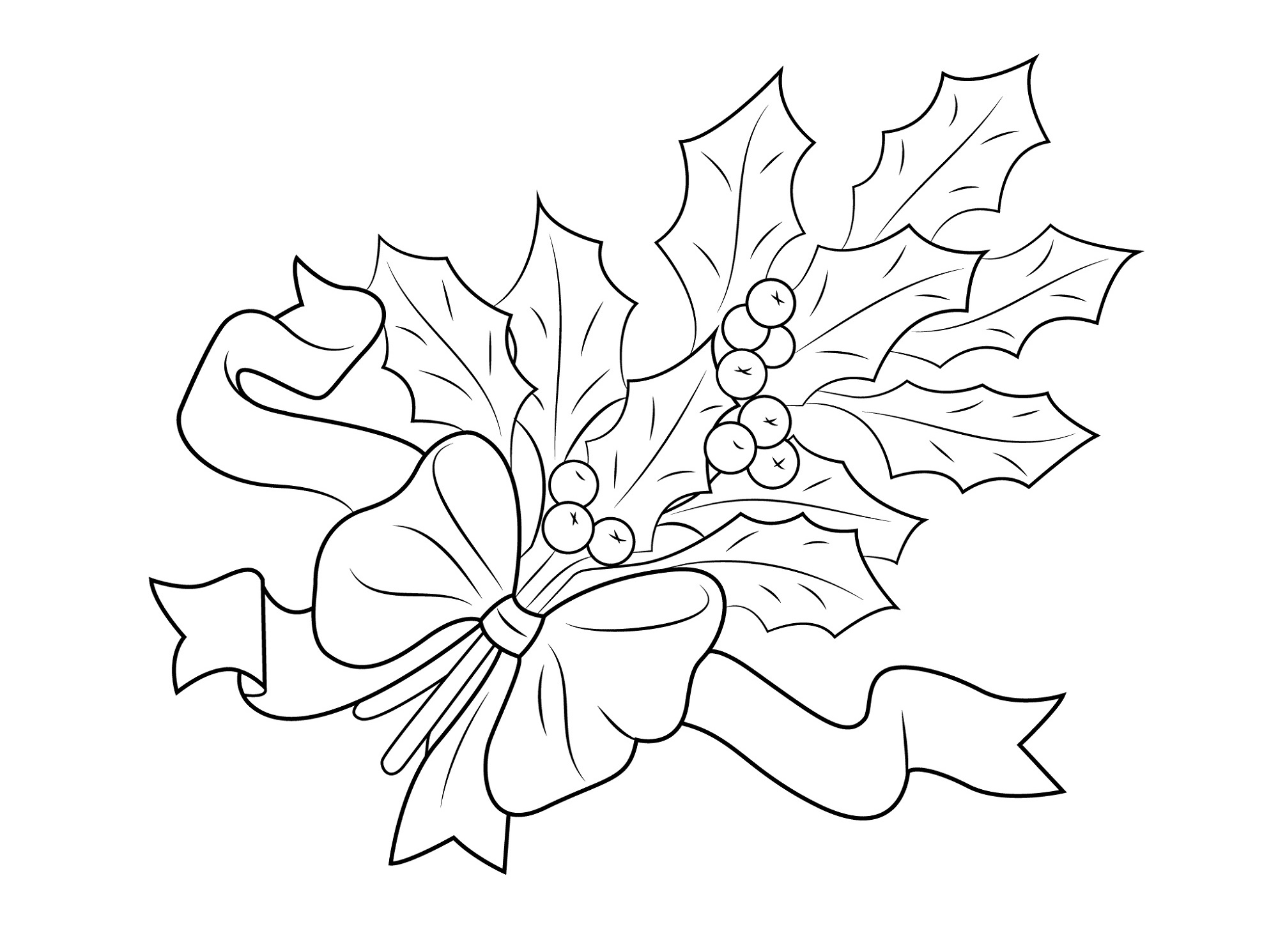 Holly Leaf Coloring Page