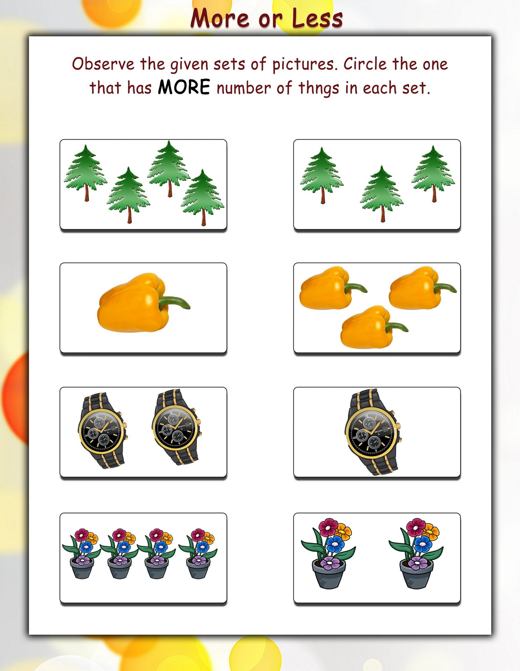 More Less Worksheets Printable