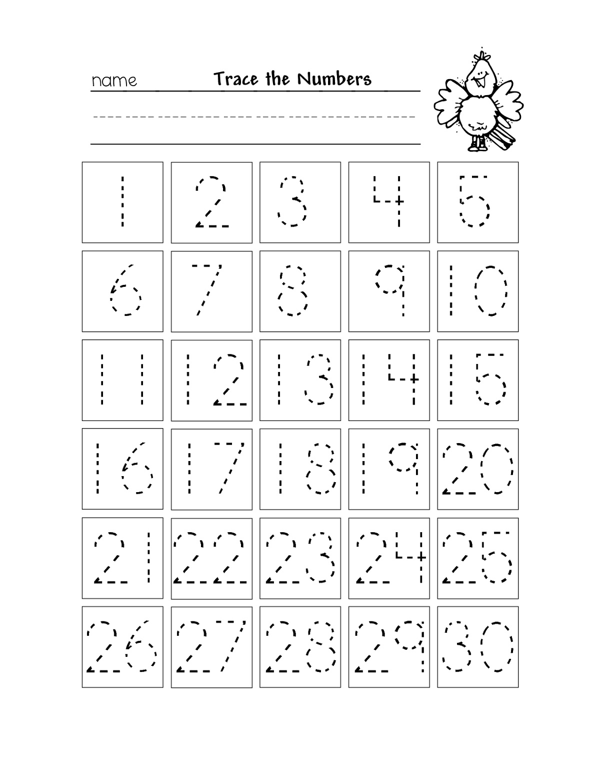 Number Trace Worksheets Writing