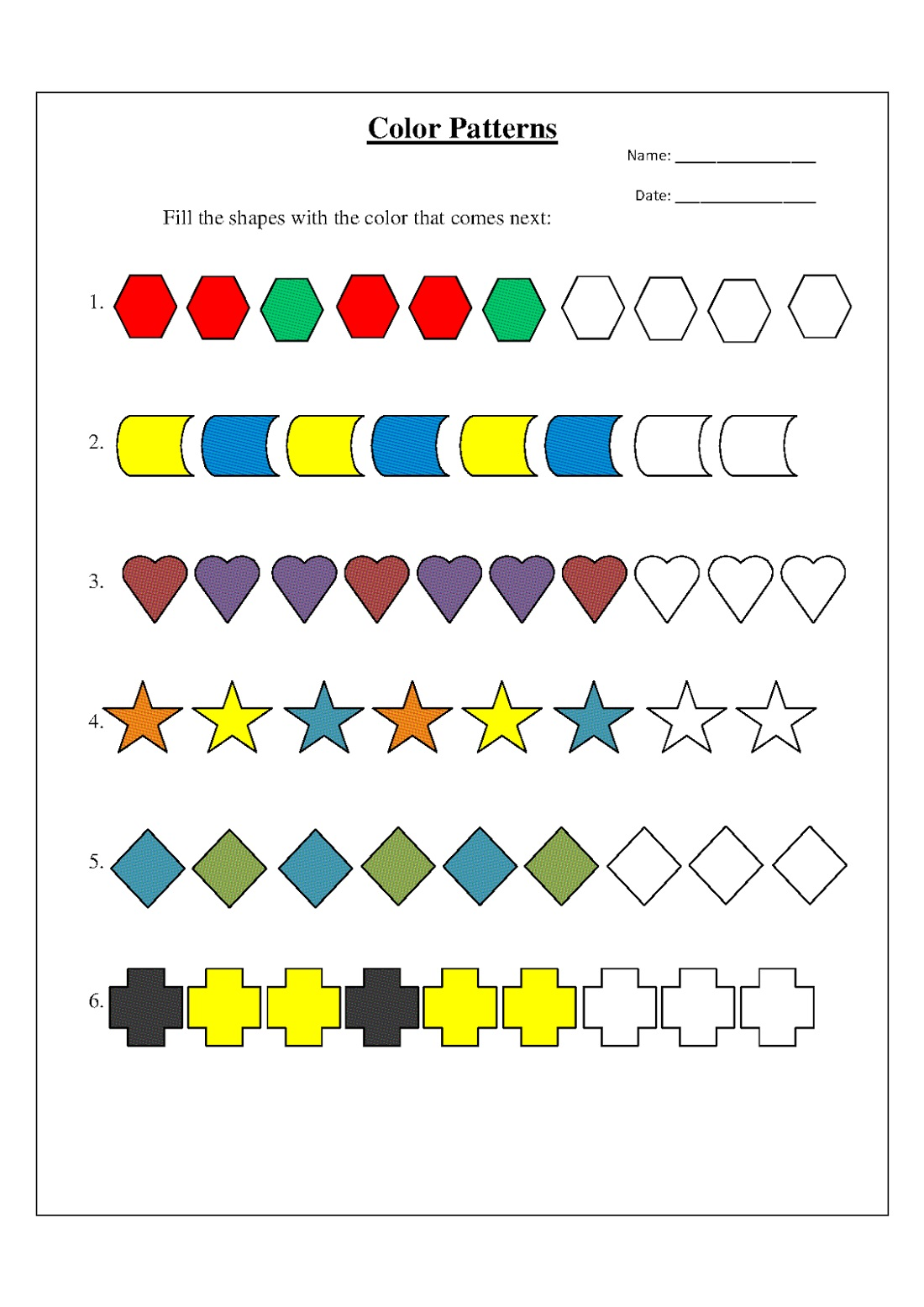 Pattern Color The Shapes Worksheet