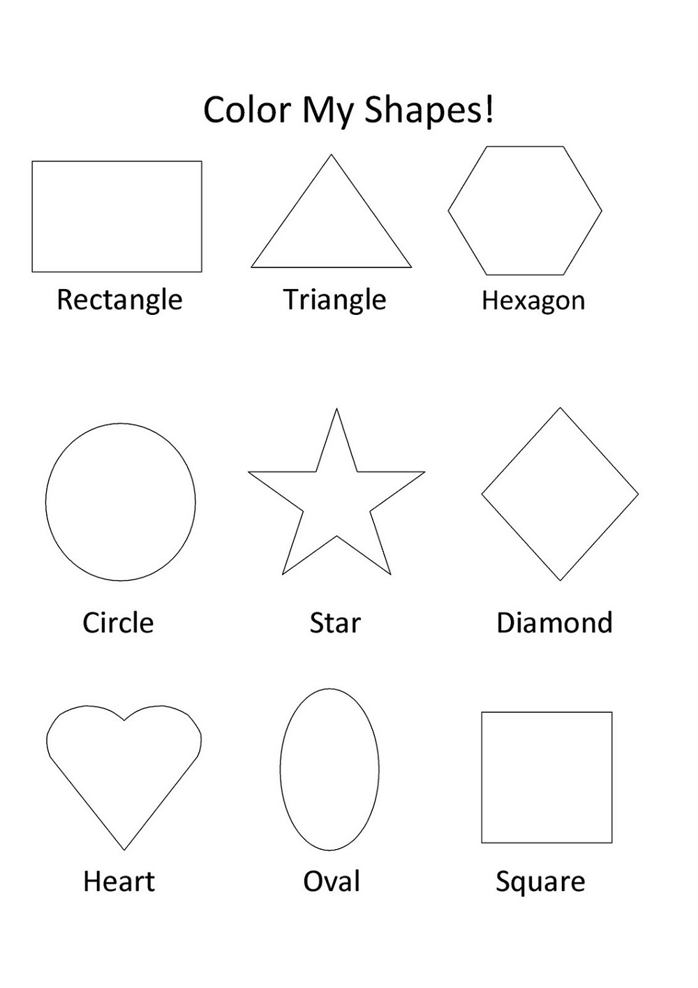 Printable Color The Shapes Worksheet