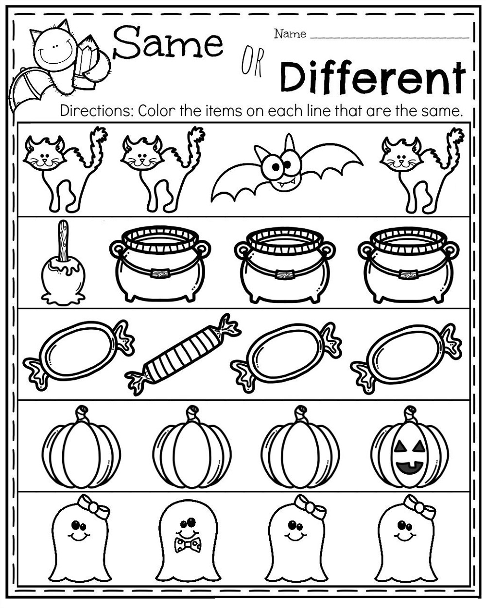 Same Different Worksheets Halloween