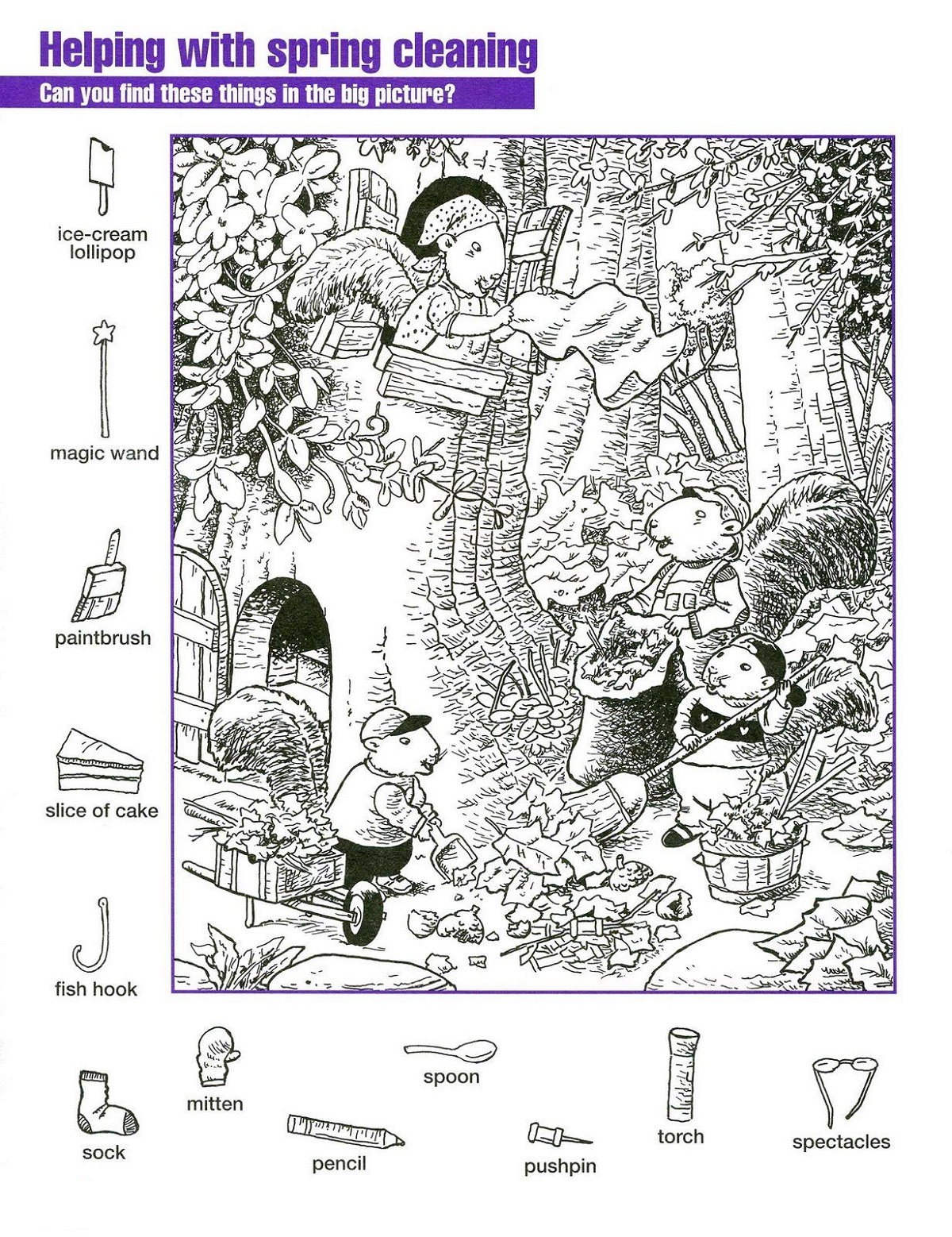 Spring Hidden Pictures Worksheets