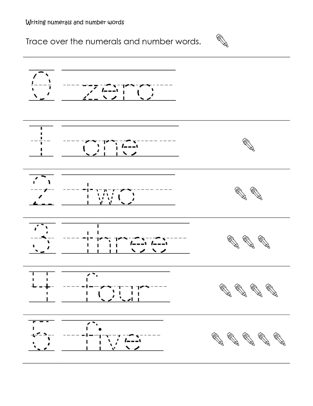 Trace Number Words Worksheet