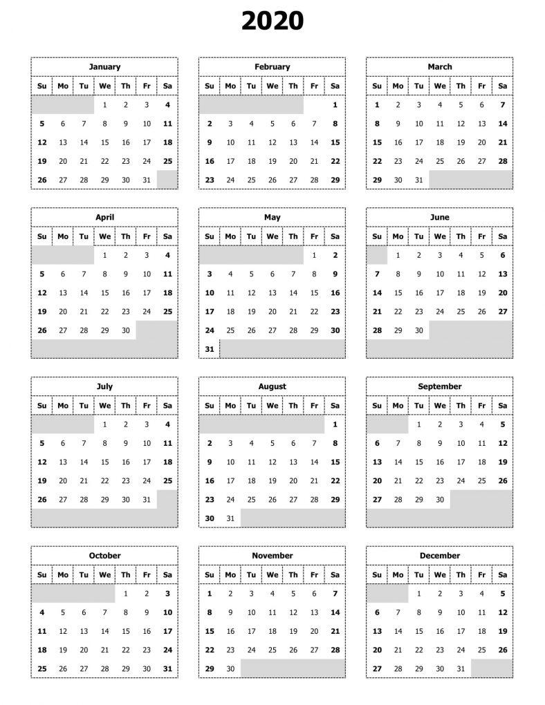 Blank 2020 Calendar
