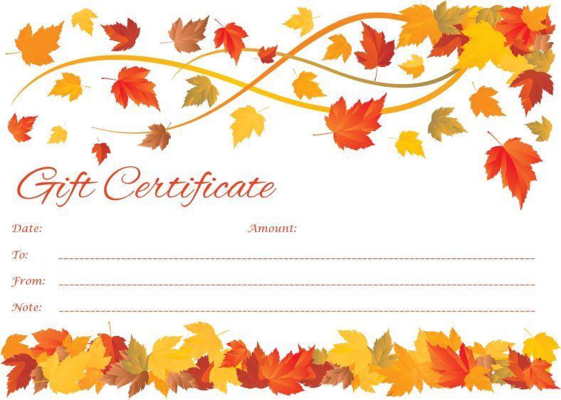Fall Gift Certificate Template