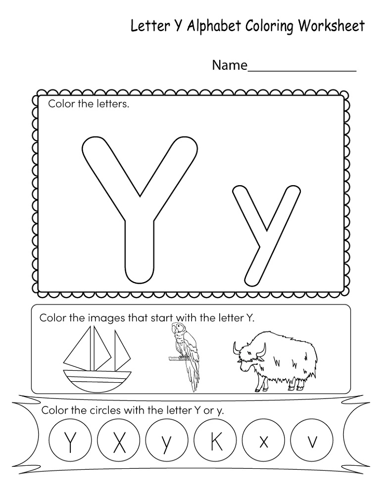Letter Y Worksheet Coloring