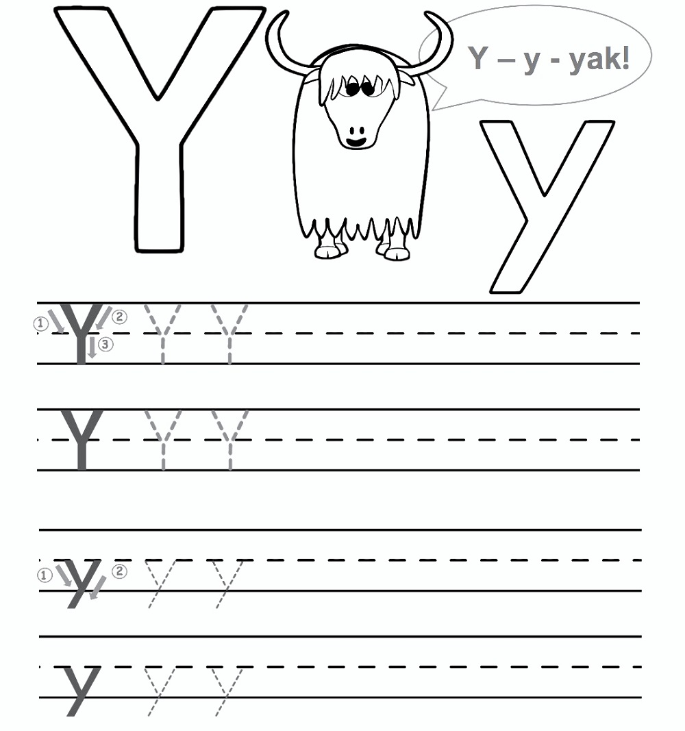 Letter Y Worksheet For Preschool