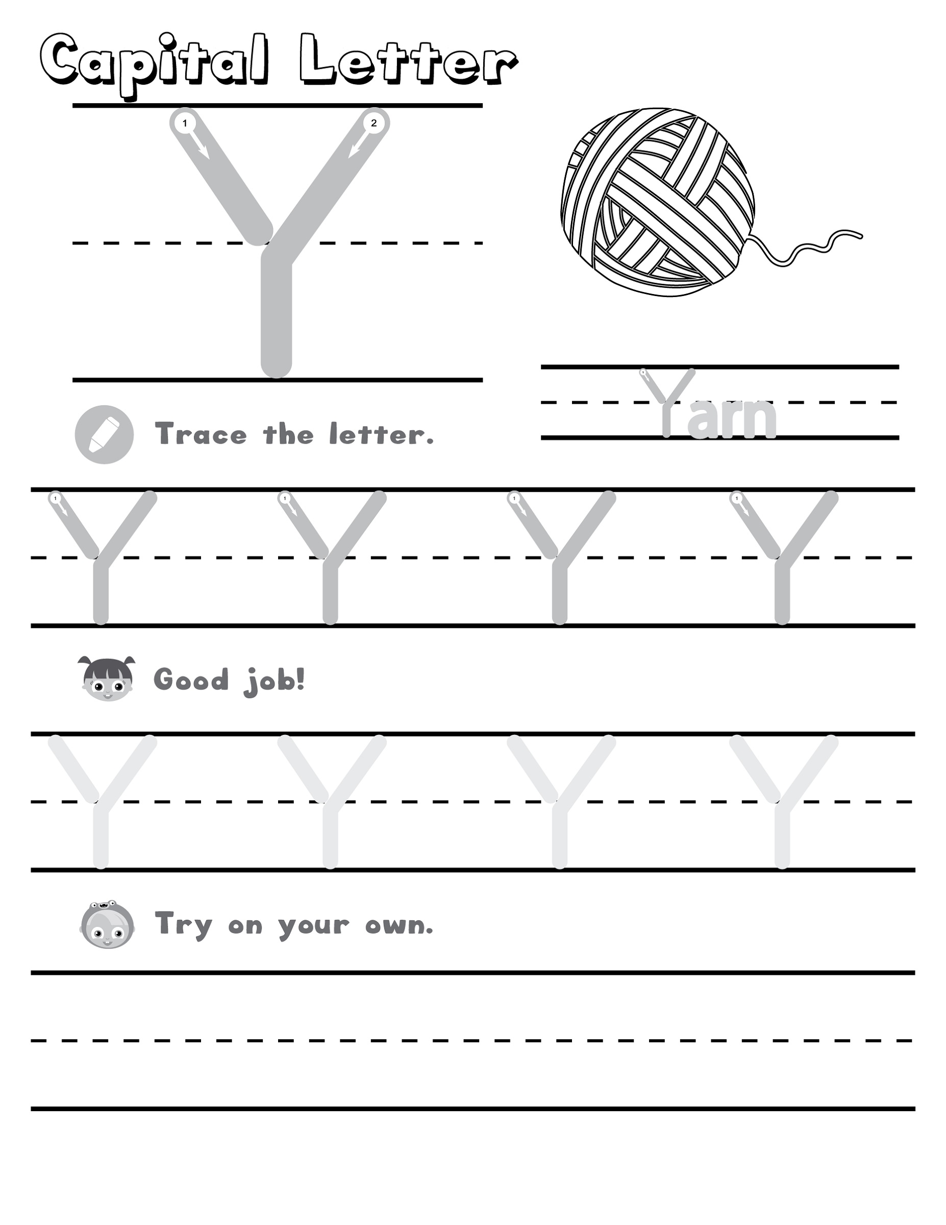 Letter Y Worksheet Writing