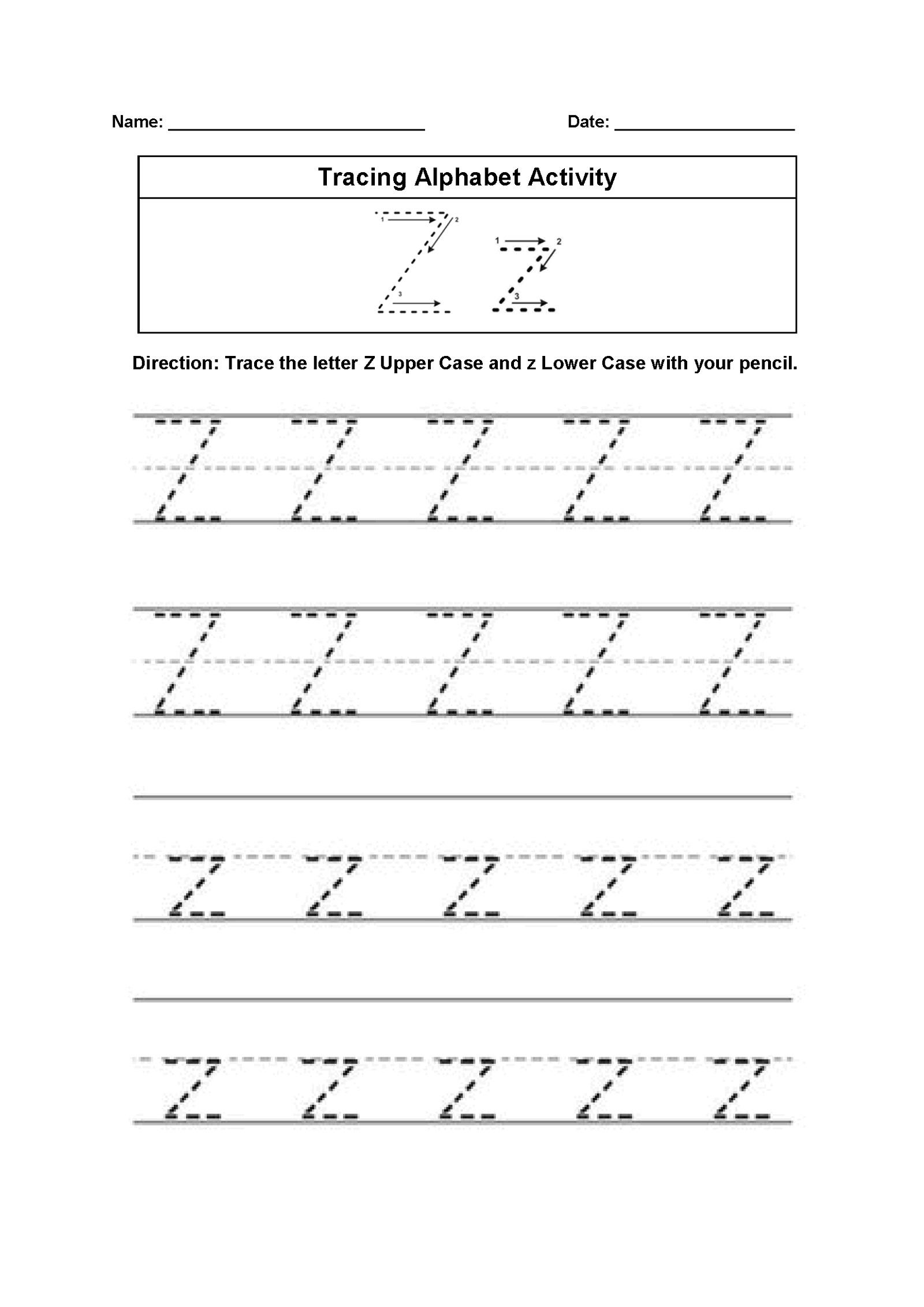 Letter Z Worksheets Writing