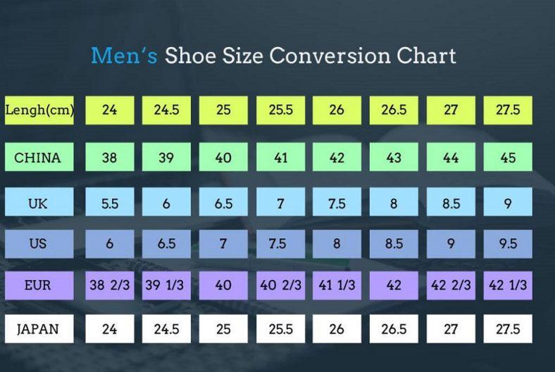 Mens Shoe Size Chart Conversion
