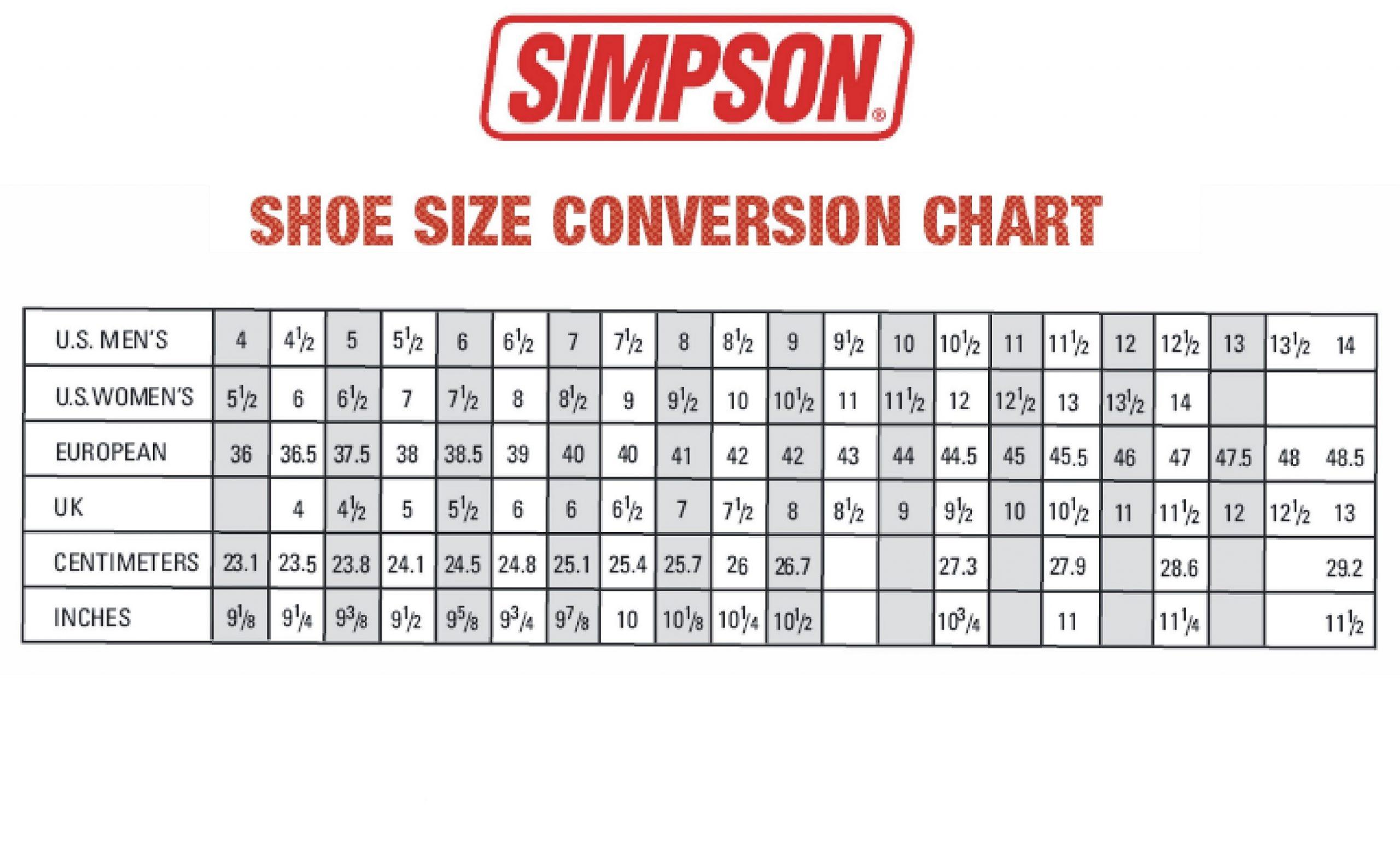 Mens Shoe Size Chart Free