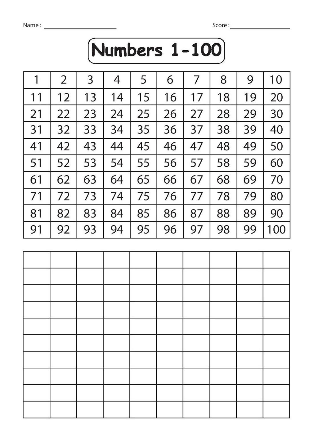 Number Sheets 1-100 Worksheet