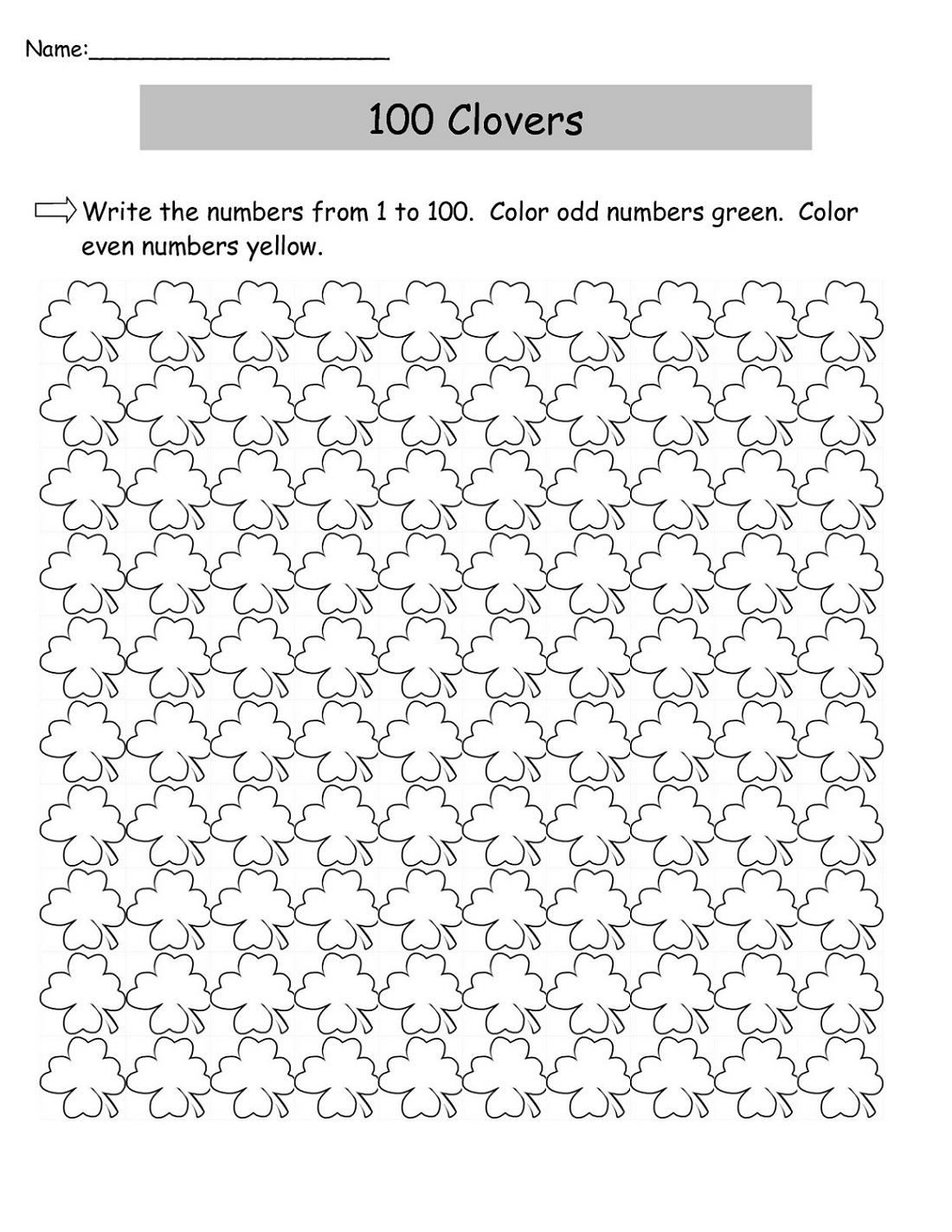 Odd Numbers Chart worksheet