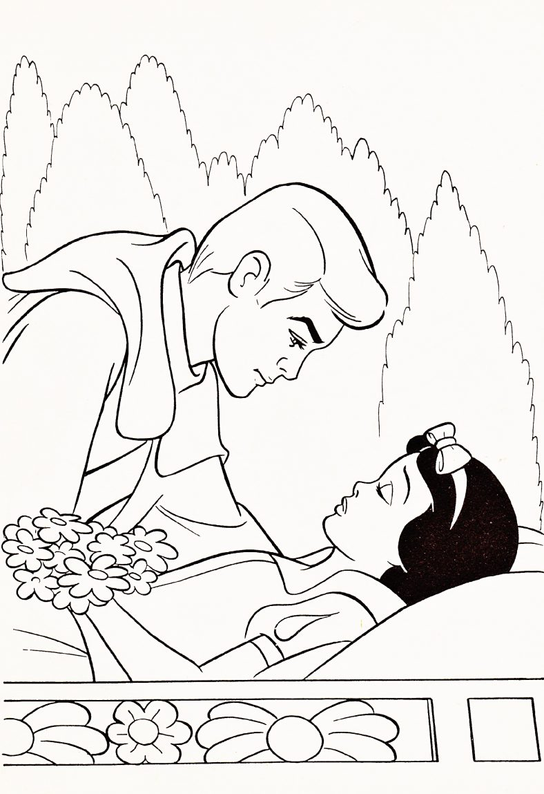 Prince Kisses Snow White Color Pages