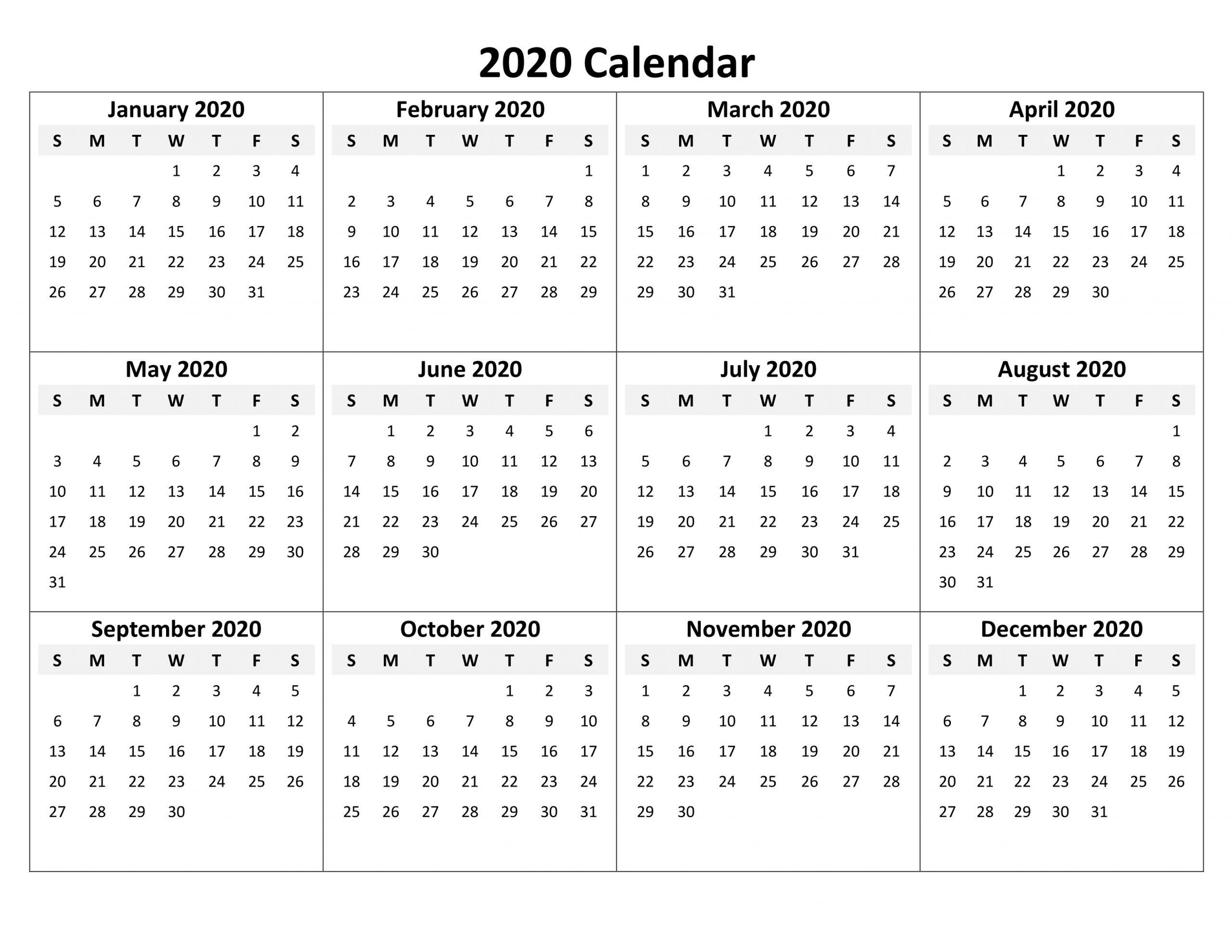 Simple 2020 Calendar