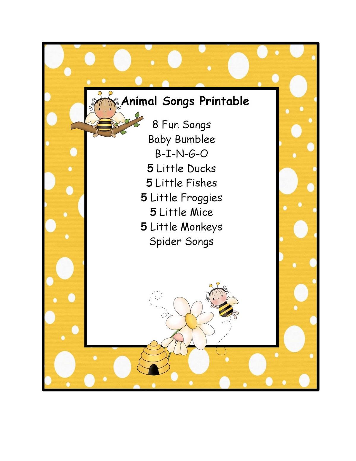 Animal Songs Free Preschool Printables