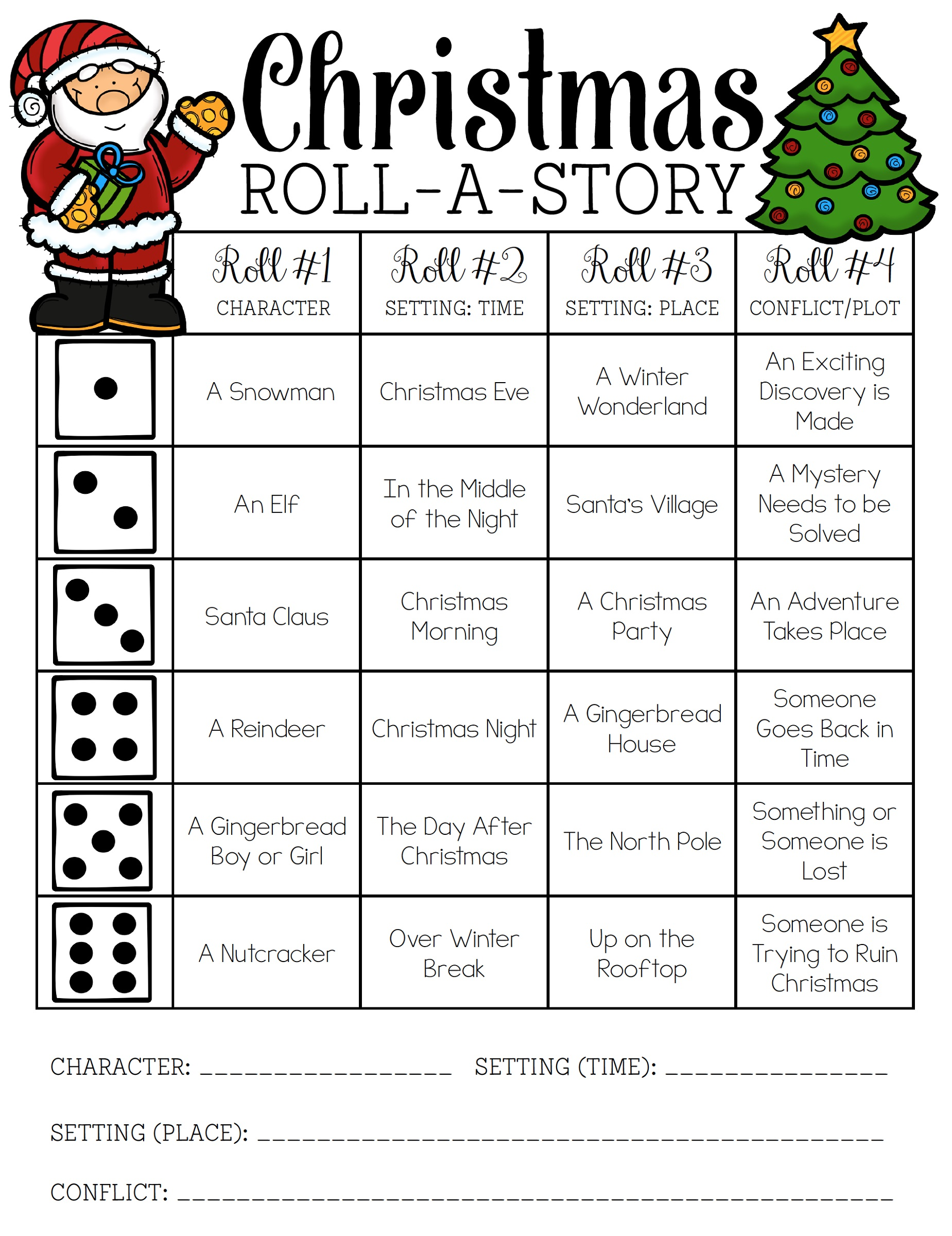 Christmas Activities for Kids Roll a Story