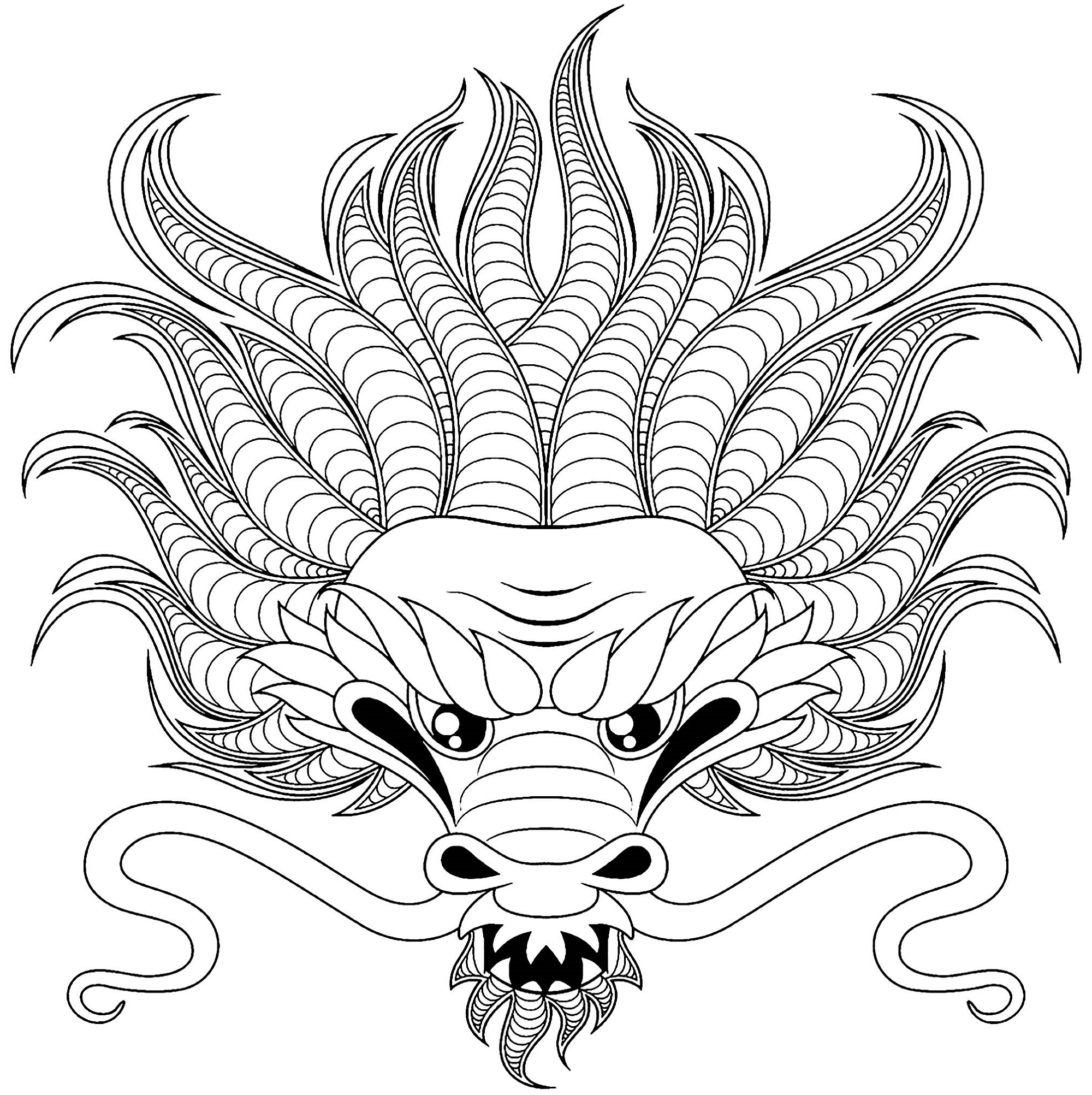 Dragon Colouring Pages Head